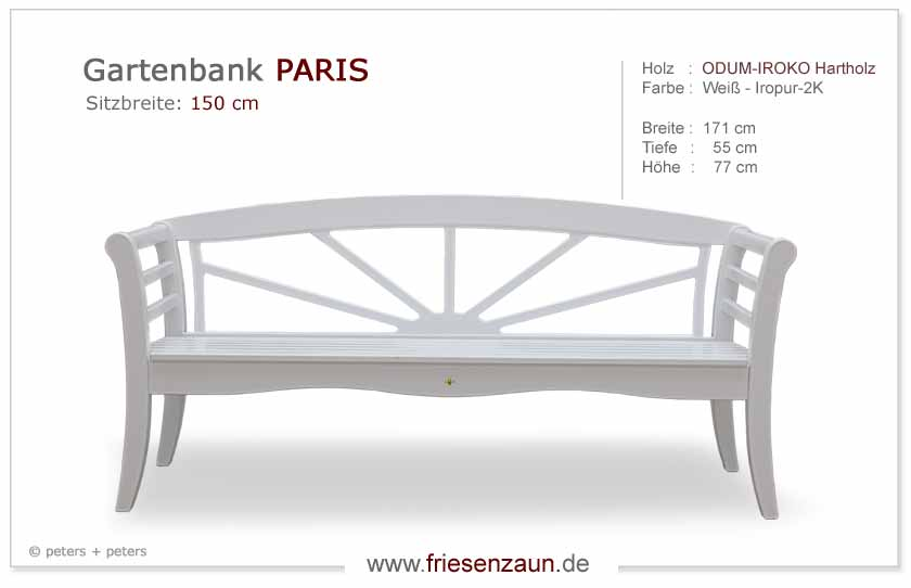 gartenbank holz 2er 3er paris von peters und peters sylter gartenbank. Black Bedroom Furniture Sets. Home Design Ideas