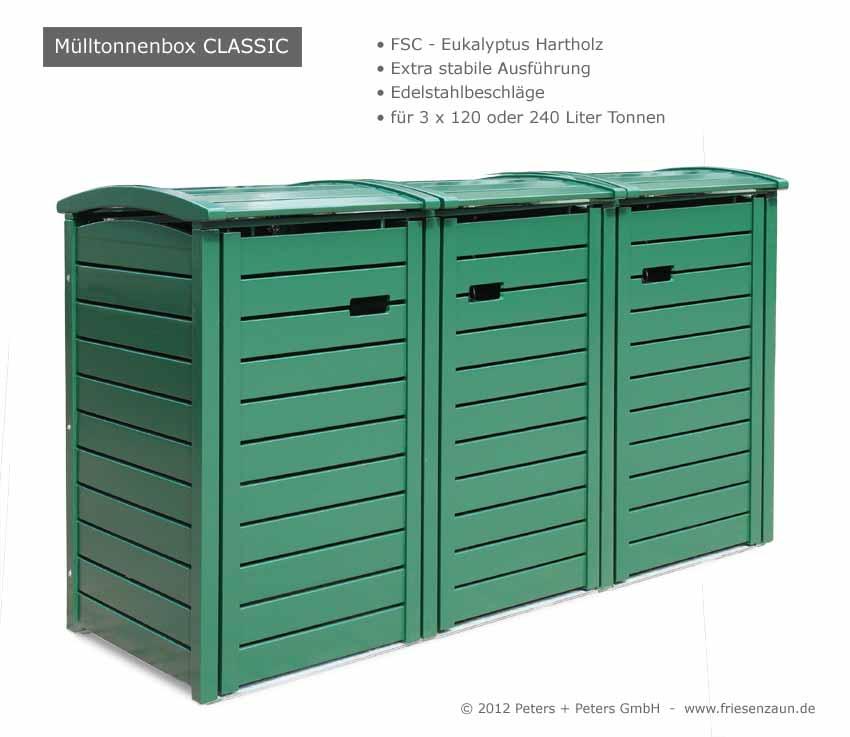 MUlltonnenbox Holz 120 Liter ~ 2er + 3er Mülltonnenbox Hartholz 120 + 240 Liter  Natur geölt oder
