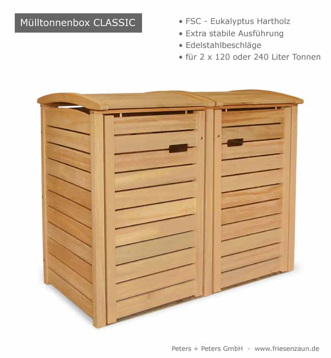 2er 3er m lltonnenbox hartholz 120 240 liter natur ge lt oder wei lackiert. Black Bedroom Furniture Sets. Home Design Ideas