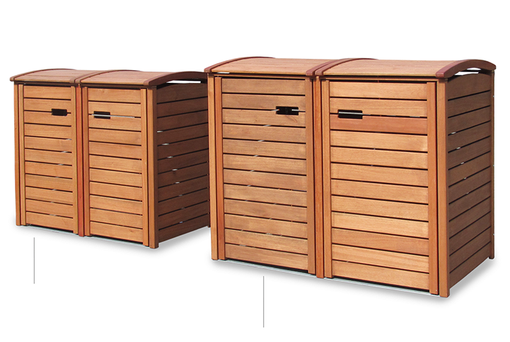 angebot 2er 3er m lltonnenbox hartholz 120 240 liter natur ge lt oder gr n lackiert. Black Bedroom Furniture Sets. Home Design Ideas