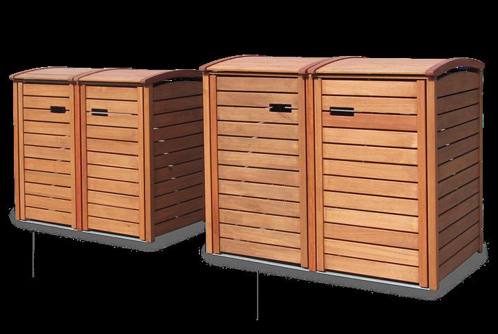 Angebot ⎜ 2er + 3er Mülltonnenbox Hartholz 120 + 240 Liter - Natur ...