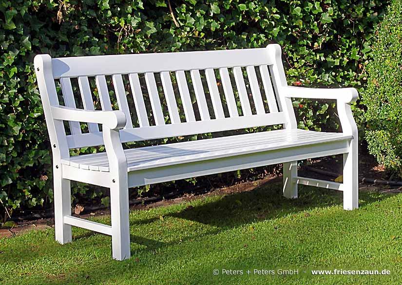 150 Cm Breite Gartenbank Weiß   3er Holzbank FSC Eukalyptus Hartholz