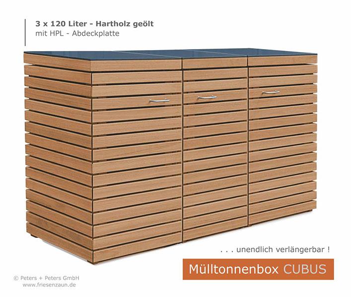 mülltonnenboxen hartholz - 25 jahre garantie,