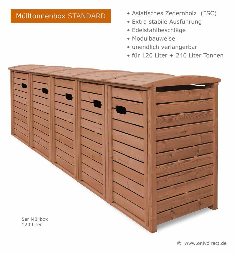 angebot ⎜ 2er + 3er mülltonnenbox hartholz 120 + 240 liter - natur