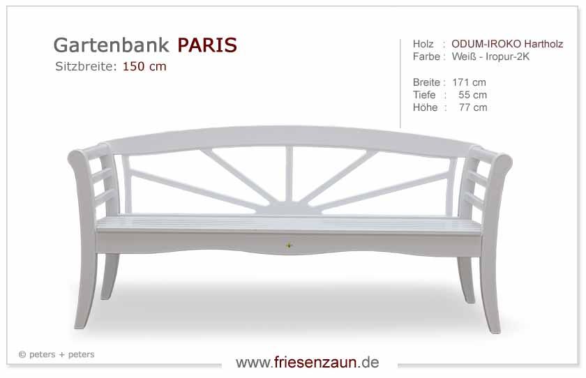 3er Gartenbank PARIS   Hartholz Weiß   Gesamtbreite 171 Cm   Sitzbreite 150  Cm. Lieferbar