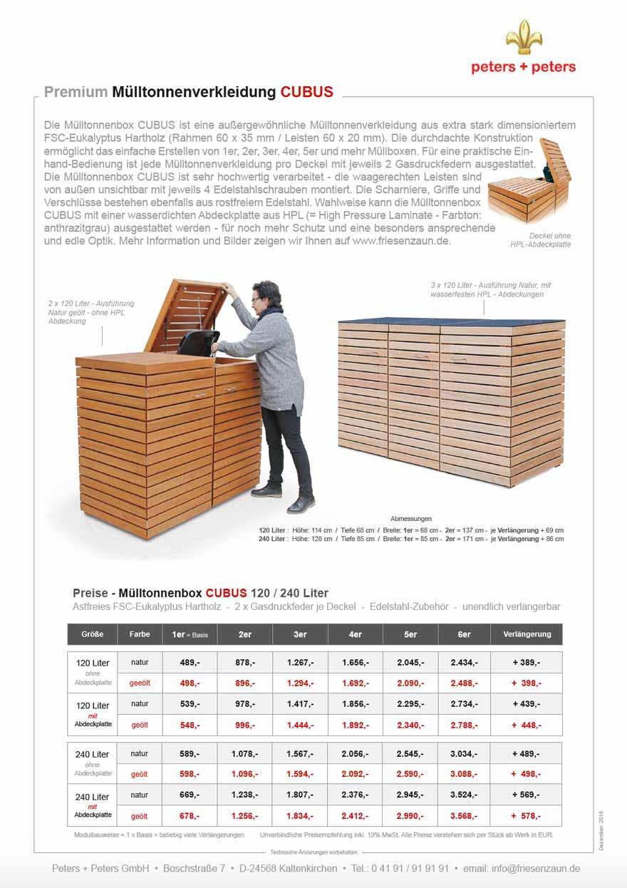 mülltonnenboxen hartholz - 25 jahre garantie