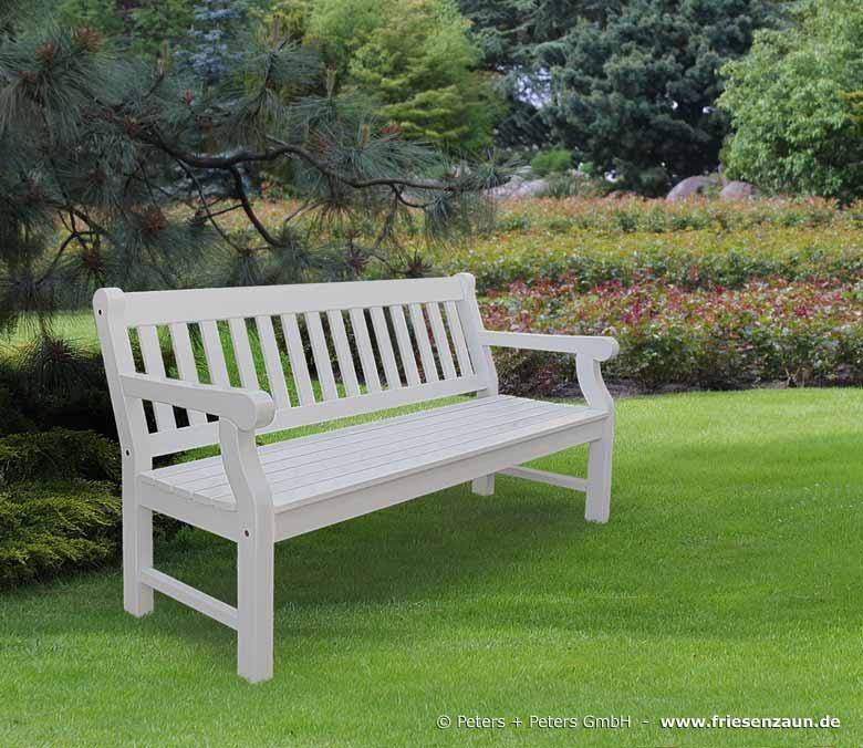 Gartenbank Weiß   3er Holzbank Hyde Park Aus FSC Hartholz Weiß, Grün, Grau,