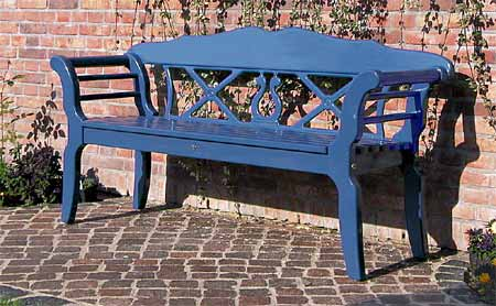 Blue painted garden bench FISCHLAND