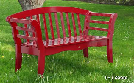 red painted garden bench hardwood
