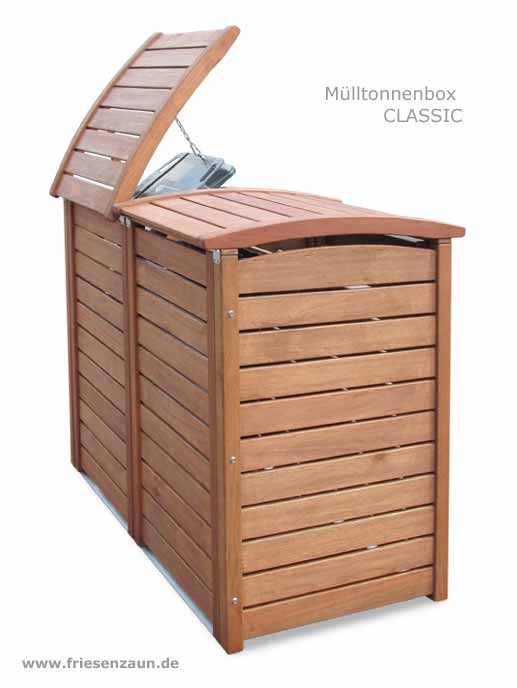 exklusive m lltonnenbox m lltonnenboxen holz gr n oder ral lackiert 25 jahre garantie. Black Bedroom Furniture Sets. Home Design Ideas