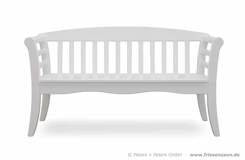 wooden garden benches and garden furniture painted white in a traditional german island way. Black Bedroom Furniture Sets. Home Design Ideas