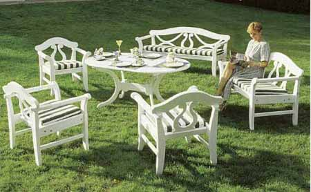Traditional Garden Furniture Wooden garden benches and garden furniture painted white in a wooden garden benches and garden furniture painted white in a traditional german island way 25 years quarantee workwithnaturefo